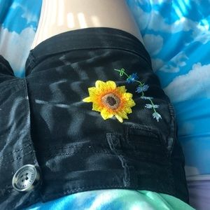 Sunflower Floral Embroidered Low Rise Shorts